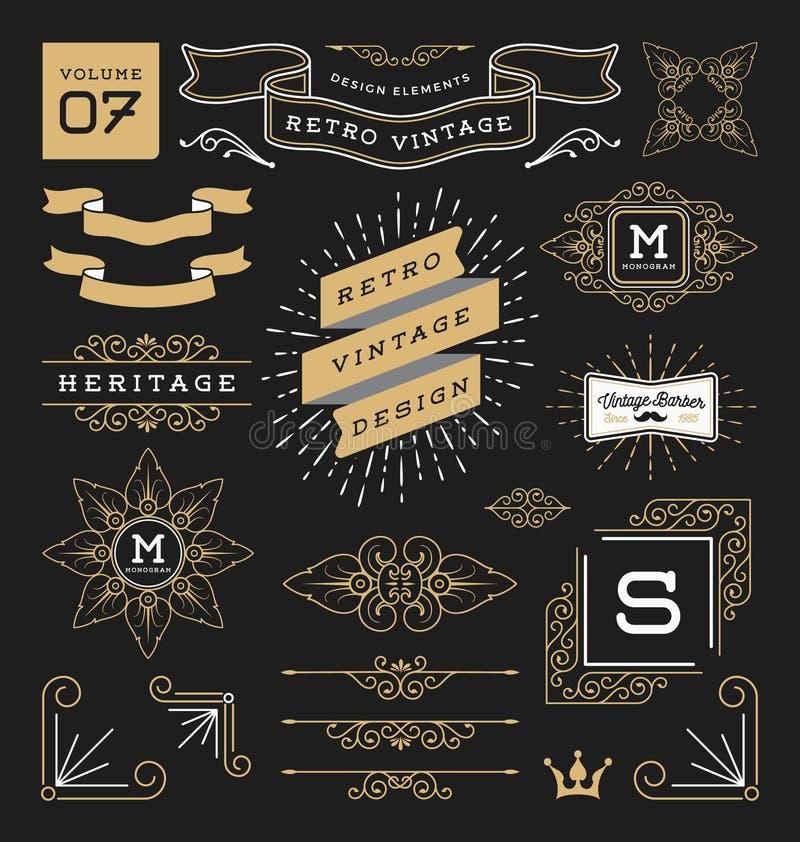 Reeks retro uitstekende grafische ontwerpelementen stock illustratie