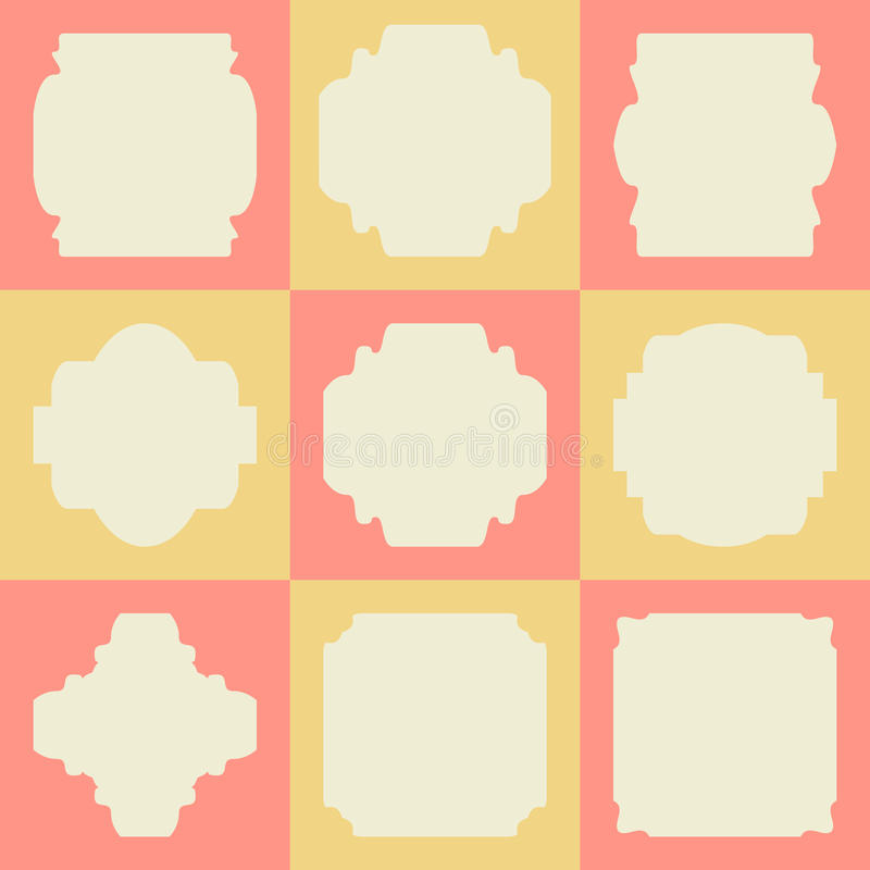 Reeks retro uitstekende kentekens en etiketten op vierkanten vector illustratie