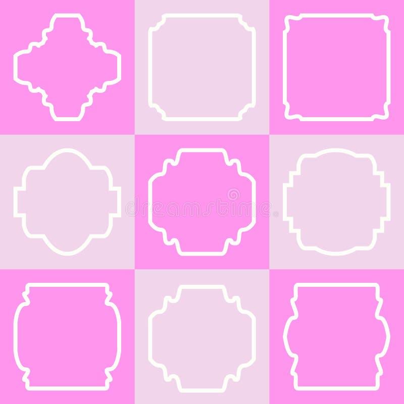Reeks retro uitstekende kentekens en etiketten op vierkanten stock illustratie
