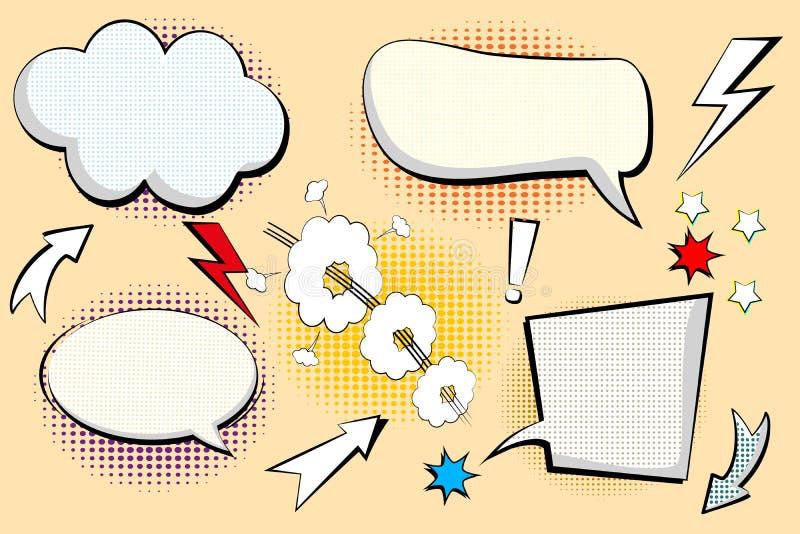 Reeks retro van beeldverhaal, toespraakschets Grappige toespraakbellen Lege dialoogwolken in pop-artstijl met halftone schaduwen  royalty-vrije illustratie