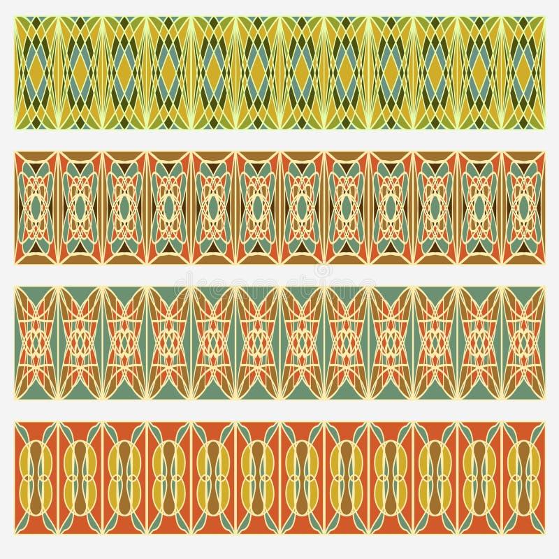 Reeks riem geometrische patronen in uitstekende stijl Nuttig voor kader of grensdecoratie van een pamflet, vlieger, affiche, dine stock illustratie