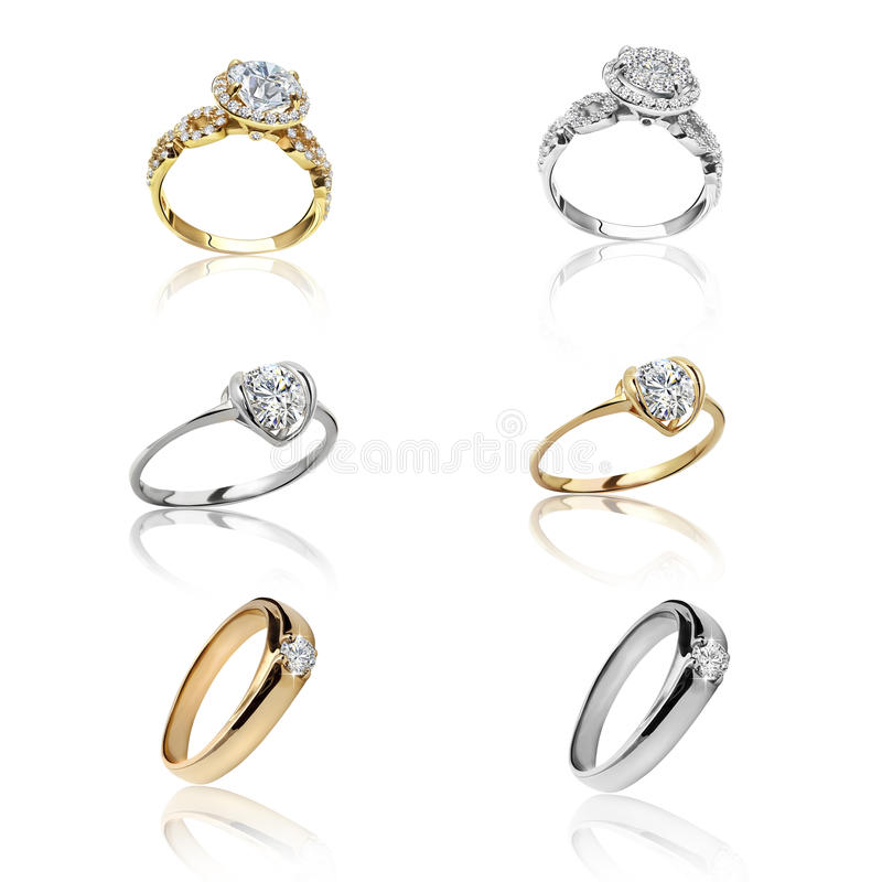 Reeks ringen Beste huwelijksverlovingsring royalty-vrije stock foto