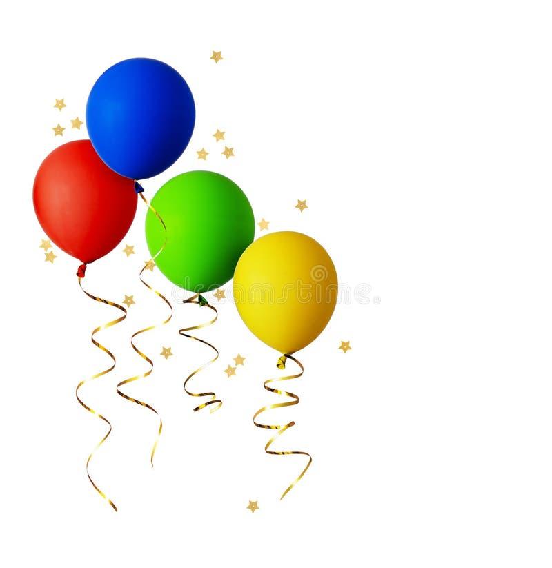 Reeks rode, blauwe, groene en gele ballons met gouden linten stock fotografie