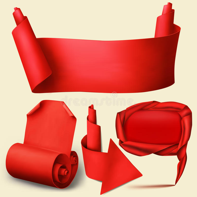 Reeks rode document realistische elementen Banner, pijl, wijzer en gebogen spatie vector illustratie