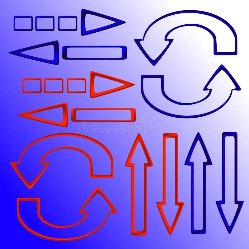 Reeks rode en blauwe pijlen stock foto