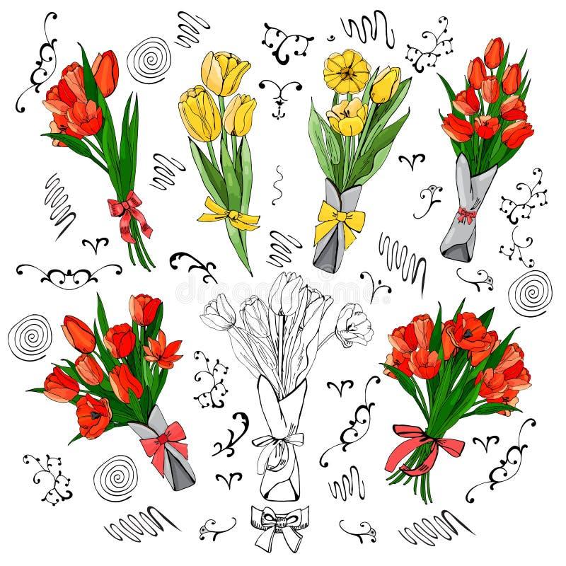 Reeks rode en gele tulpenboeketten Hand getrokken gekleurde schets met tulpenbloemen en bladeren stock illustratie