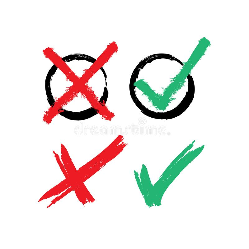 Reeks rode en groene die vinkjes met de hand met een ruwe borstel worden getrokken Checkboxes ja te selecteren of nr Grunge, sche vector illustratie
