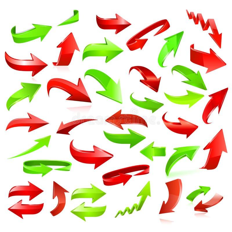 Reeks rode en groene pijlen stock illustratie