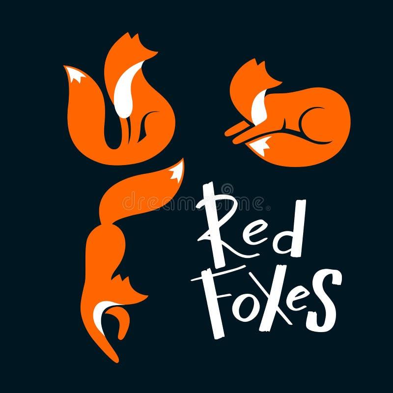 Reeks Rode en, en Vossen die liggen lopen weg zitten eruit zien Vector Wild Foxy Embleem Laconiek Symbool voor Pictogrammen, Embl royalty-vrije illustratie
