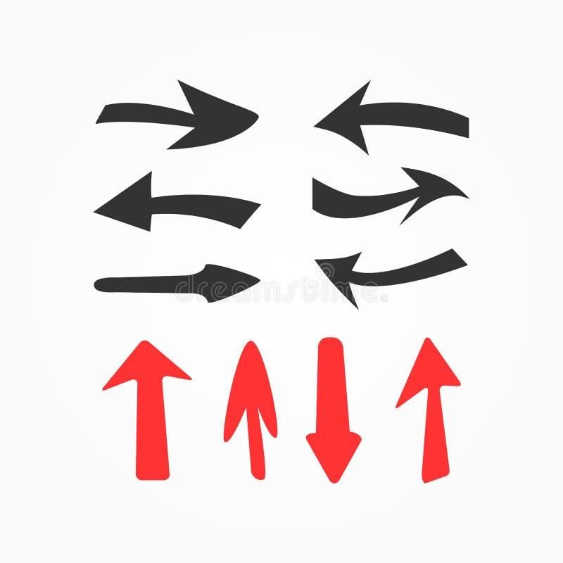 Reeks rode en zwarte met de hand getrokken pijlen Inzameling van geïsoleerde elementen vector illustratie