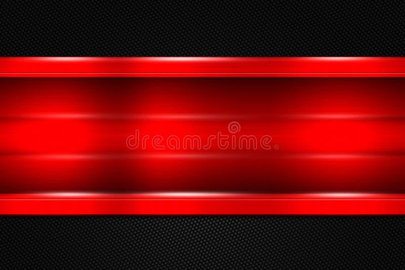 Reeks 9 rode en zwarte metaalachtergrond vector illustratie