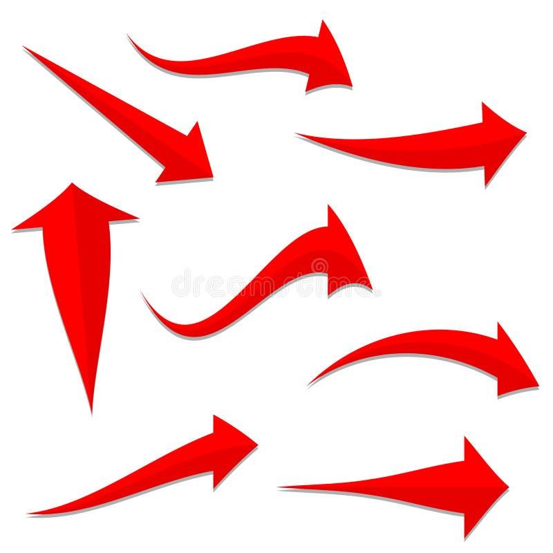 Reeks rode gebogen pijlen voor uw ontwerp, voorraadvector illustrat royalty-vrije illustratie