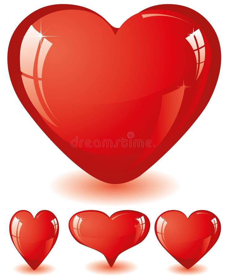 Reeks rode harten vector illustratie
