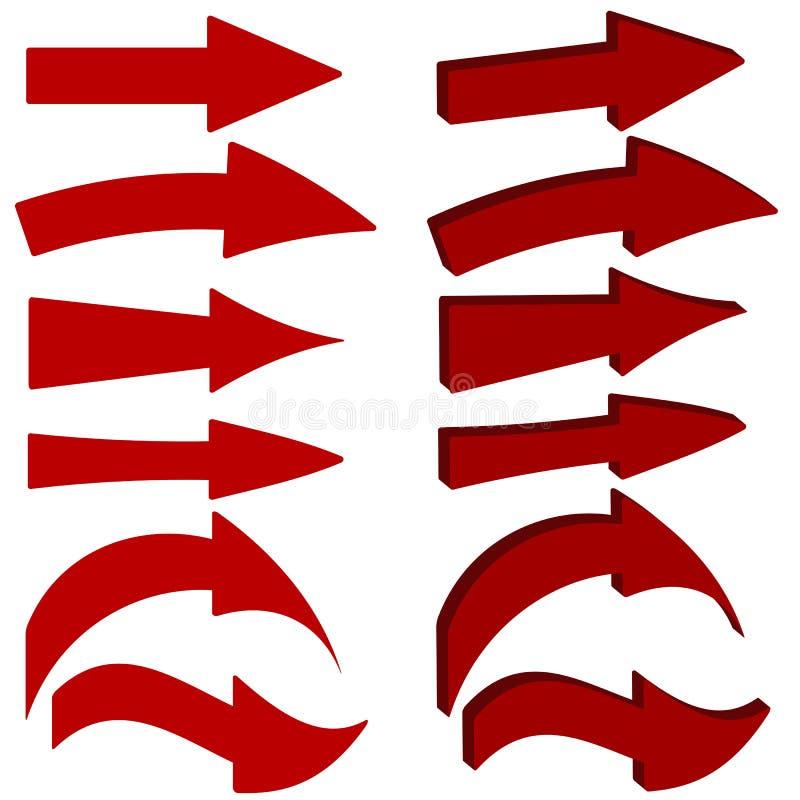 Reeks rode pijlpictogrammen vector illustratie
