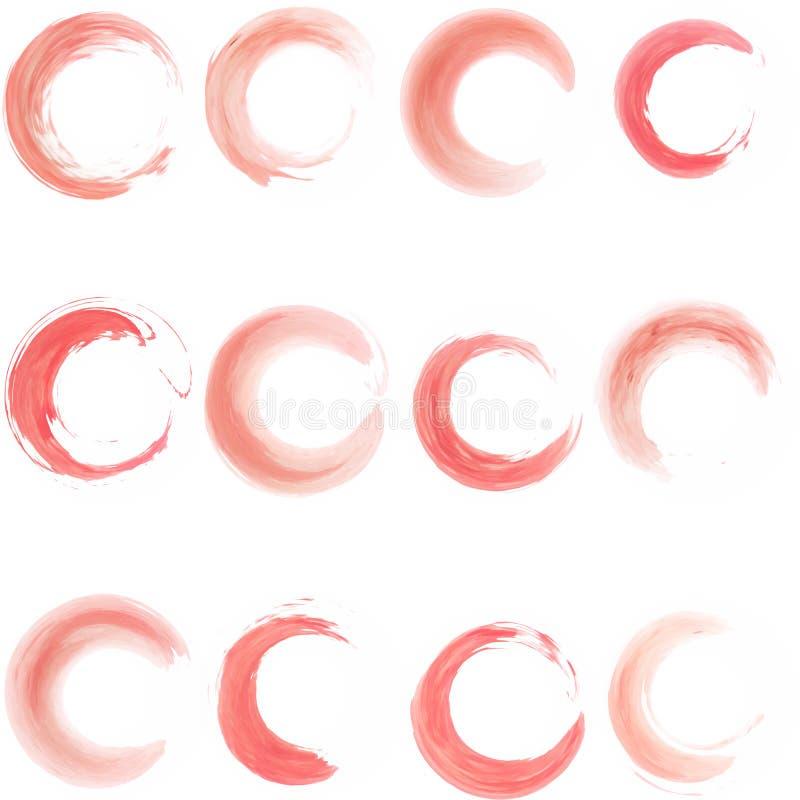 Reeks rode waterverfringen royalty-vrije stock afbeelding