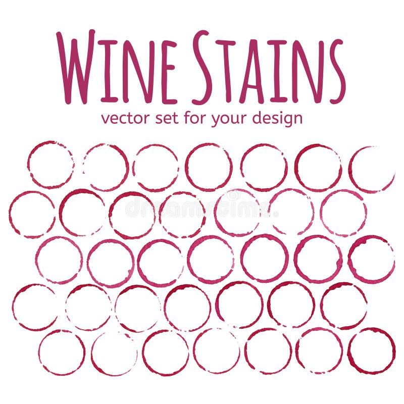 Reeks rode wijnvlekken vector illustratie