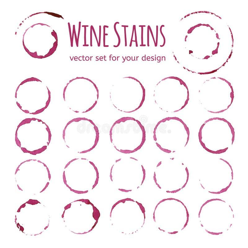 Reeks rode wijnvlekken stock illustratie