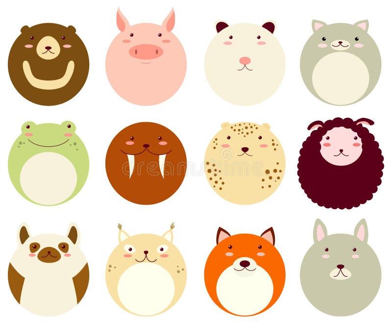 Reeks ronde avatars pictogrammen met gezichten van leuke dieren stock illustratie