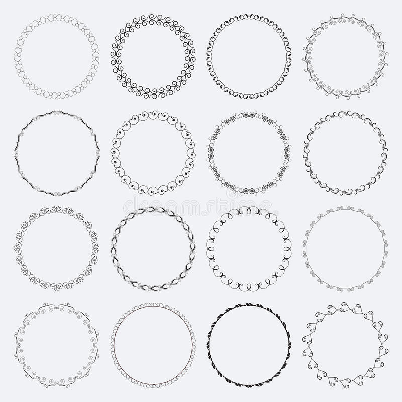 Reeks ronde en cirkel decoratieve patronen royalty-vrije illustratie
