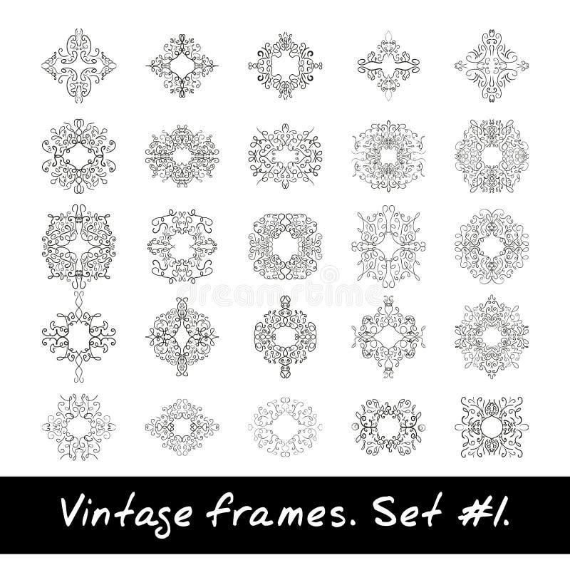 Reeks ronde frames Negen decoratieve elementen voor vector illustratie