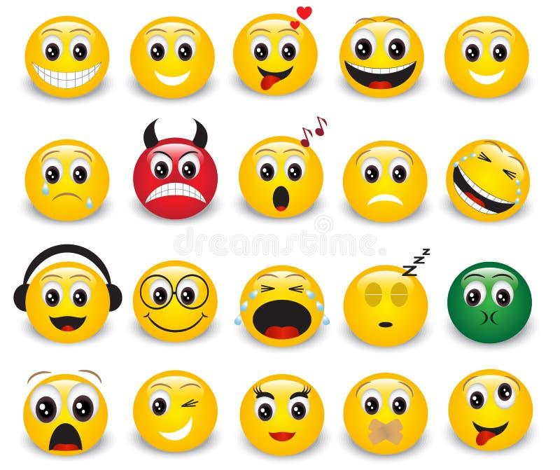 Reeks ronde gele emoticons vector illustratie
