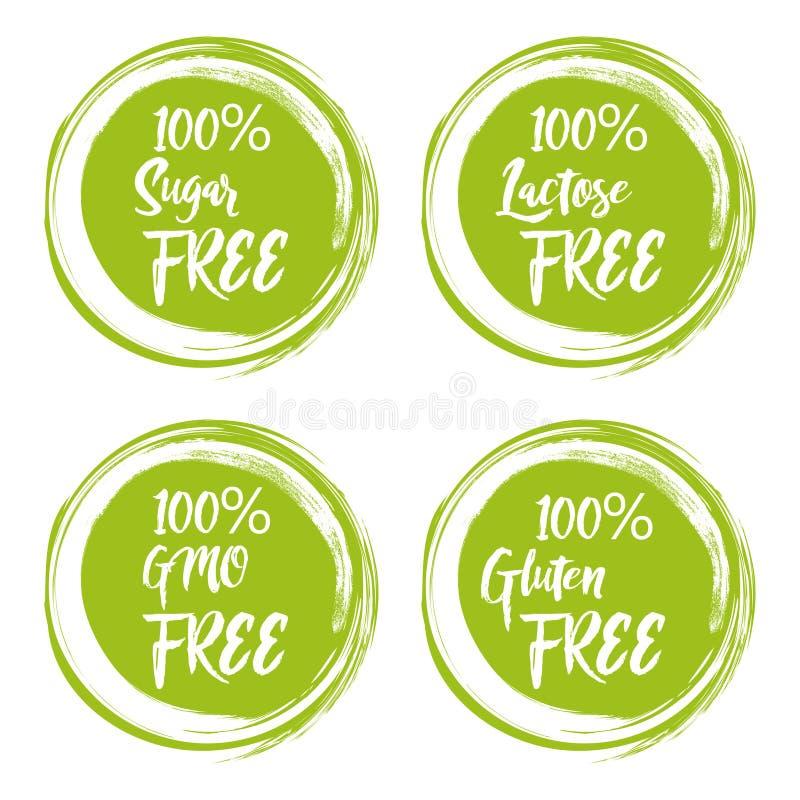 Reeks ronde groene etiketten met tekst - vrije lactose, vrije suiker, vrij gluten, vrij gmo vector illustratie