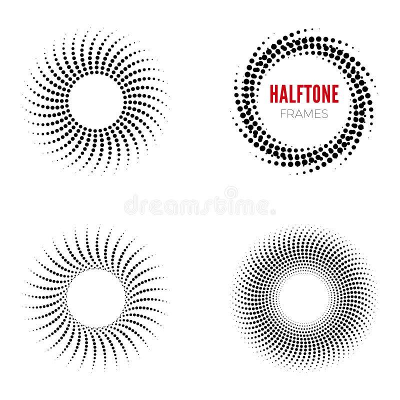 Reeks ronde halftone kaders Abstracte vectorontwerpelementen vector illustratie