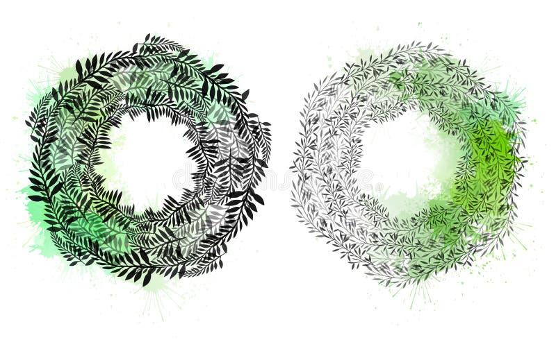 Reeks ronde kronen van installaties en takken met bladeren met waterverfplonsen Het voorwerp is afzonderlijk van de achtergrond stock illustratie