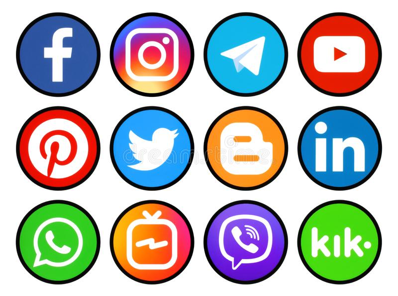 Reeks ronde pictogrammen met zwarte rand van sociale media royalty-vrije illustratie