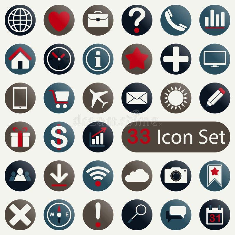 Reeks ronde pictogrammen voor mobiel app en Web vector illustratie
