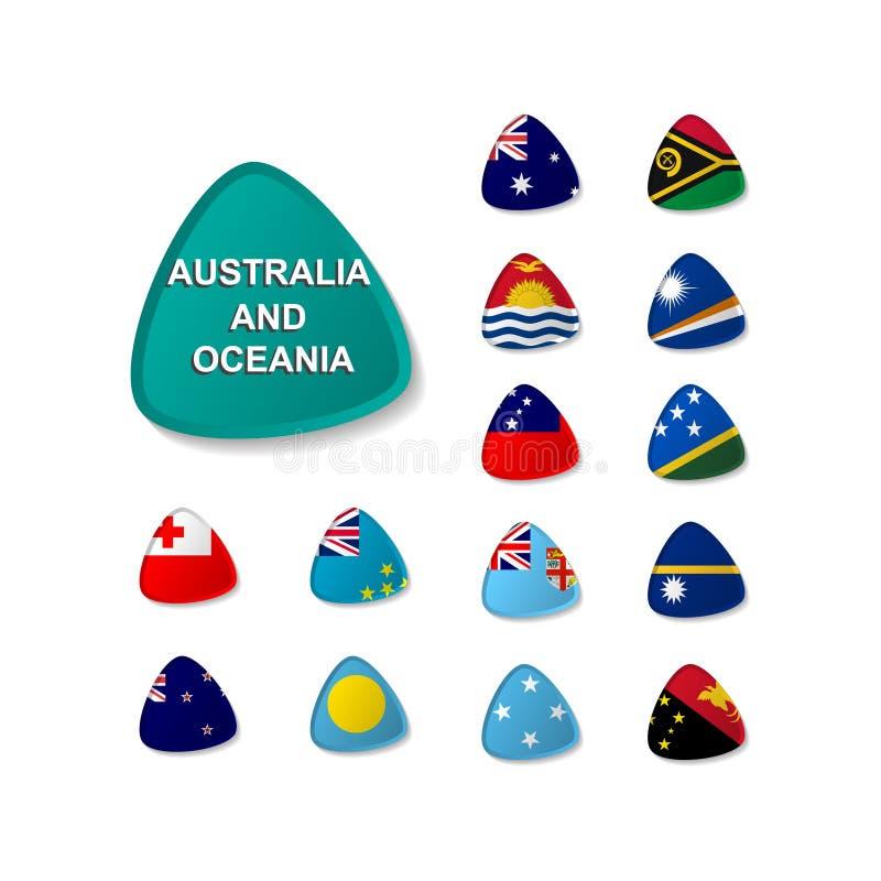 Reeks ronde pictogrammenvlaggen van landen van Australië en Oceanië met schaduw stock illustratie