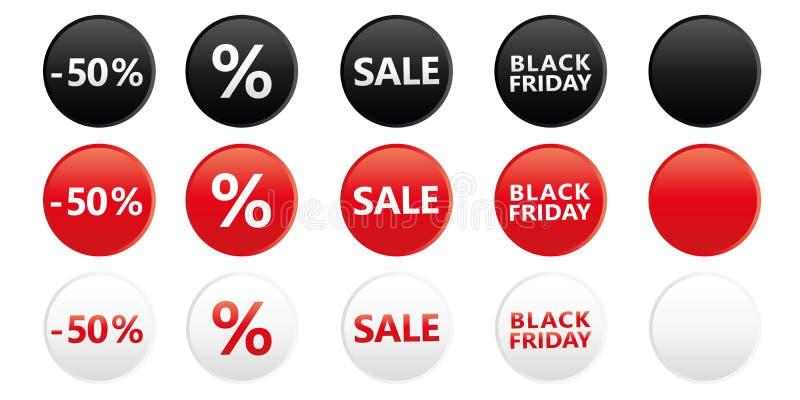 Reeks ronde zwarte markeringen van de vrijdagverkoop voor bevordering in rode witte en zwarte kleuren royalty-vrije illustratie