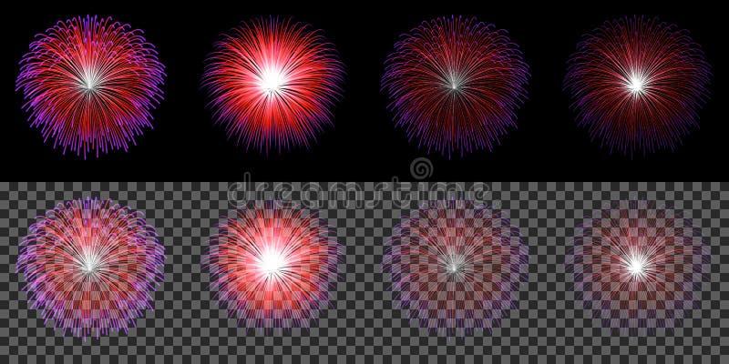 Reeks rood blauw die vuurwerk op transparante donkere achtergrond wordt geïsoleerd royalty-vrije illustratie