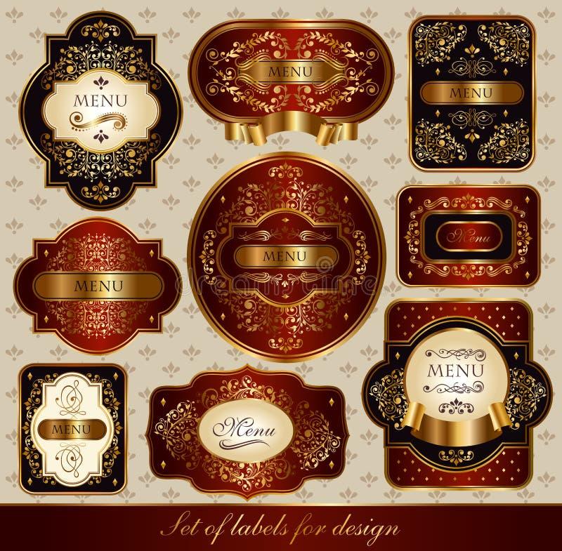 Reeks rood-gouden etiketten vector illustratie