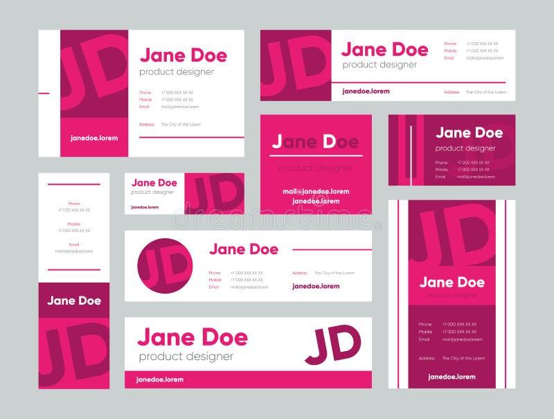 Reeks roze adreskaartjes voor ontwerper stock illustratie