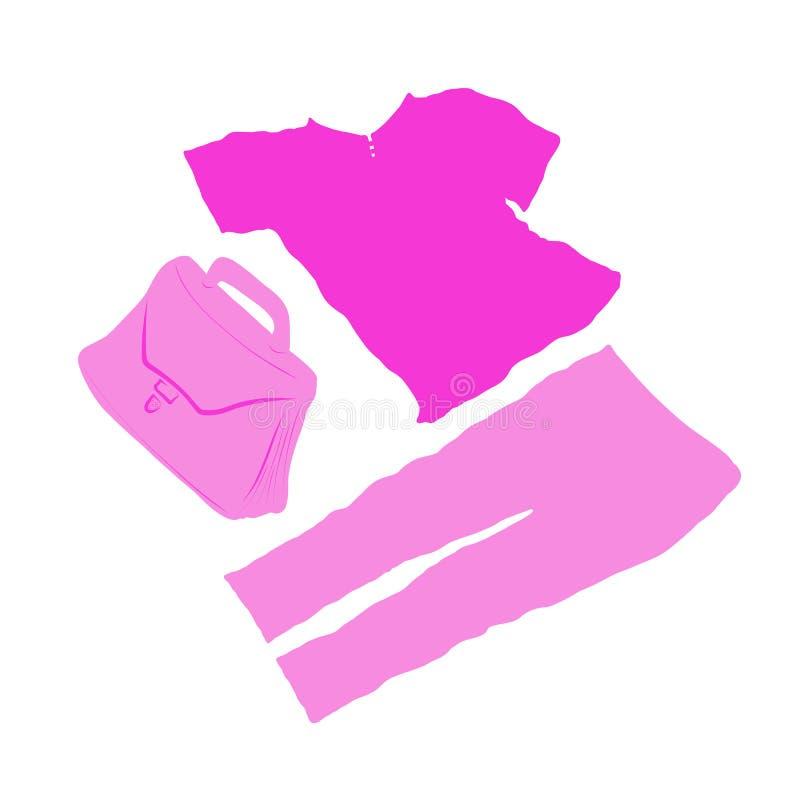 Reeks roze kleren voor het meisje en een aktentas royalty-vrije stock afbeeldingen
