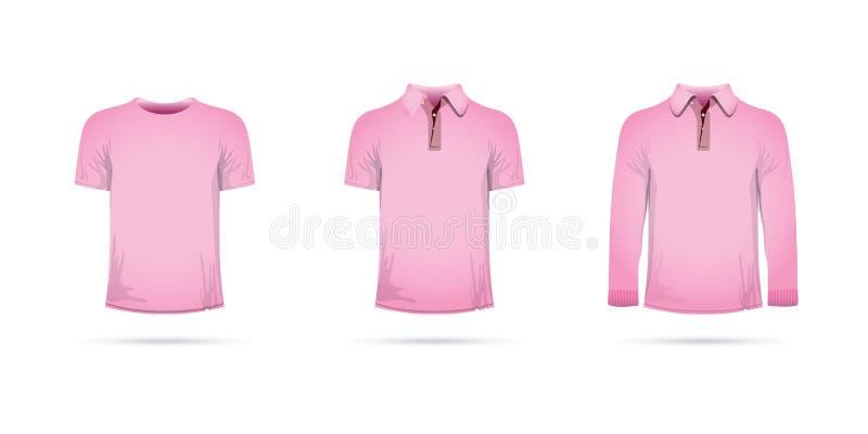 Reeks roze t-shirts royalty-vrije illustratie