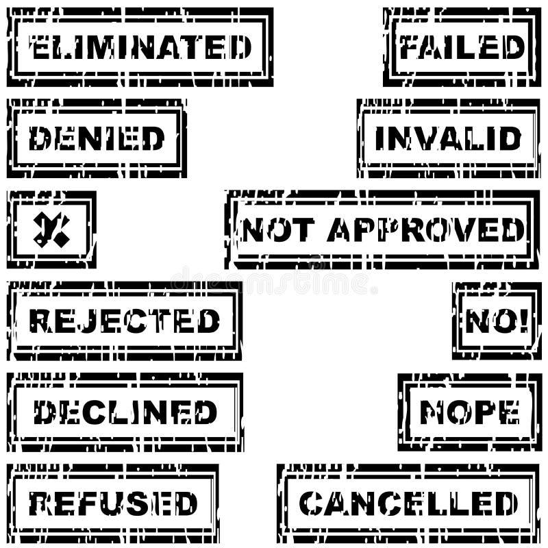 Reeks rubberzegels met geweigerde berichten, verworpen, geannuleerd, royalty-vrije illustratie