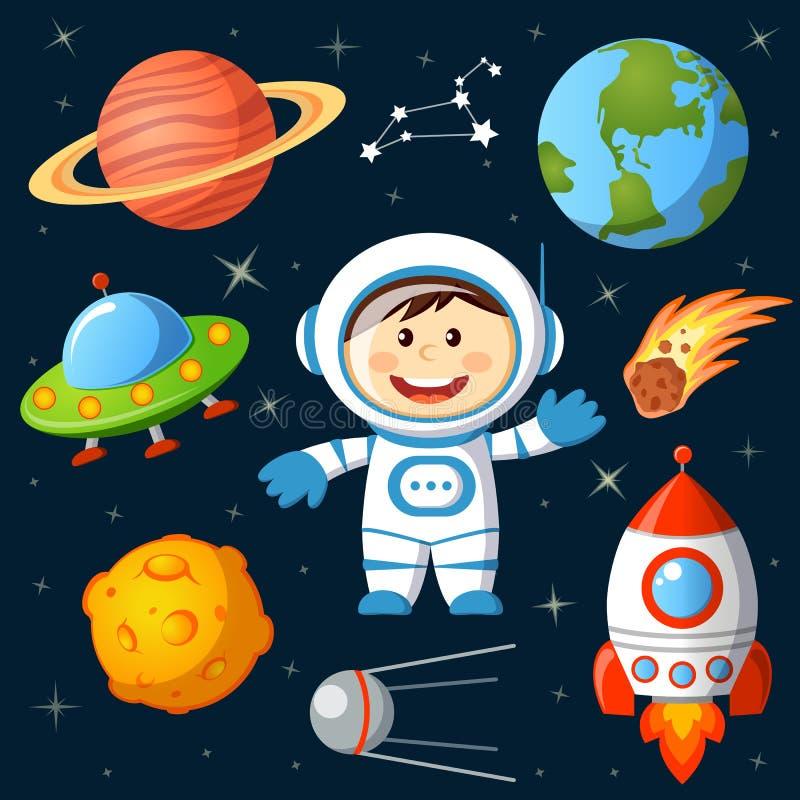 Reeks Ruimteelementen Astronaut, Aarde, Saturnus, maan, UFO, raket, komeet, constellatie, spoetnik en sterren vector illustratie