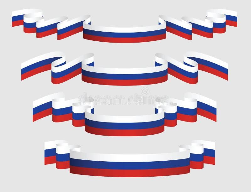 Reeks Russische linten in vlagkleuren vector illustratie