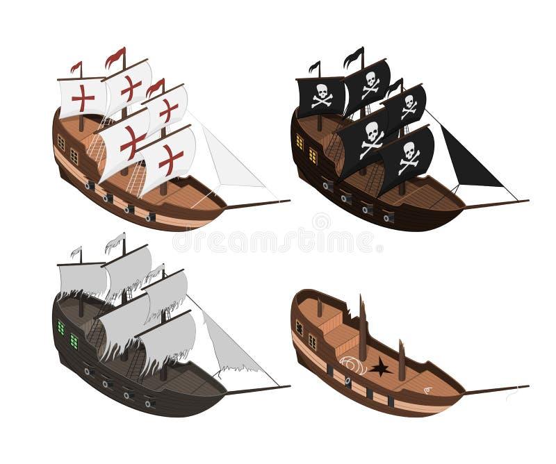 Reeks sailers op een witte achtergrond Geïsoleerde zeilboot in isometrische stijl 3d illustratie van oud schip Piraatspel vector illustratie