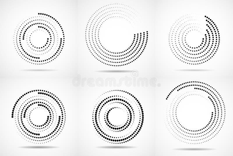 Reeks samenvatting gestippelde cirkels stock illustratie