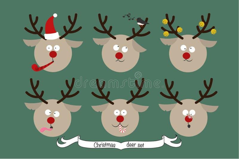 Reeks santa` s deers van beeldverhaalkarakters stock illustratie
