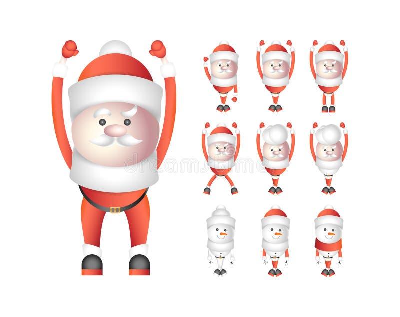 Reeks santaclausules en sneeuwmannen op witte achtergrond worden geïsoleerd die Vectorbeeldverhaalkarakters voor Kerstmis en Nieu stock illustratie
