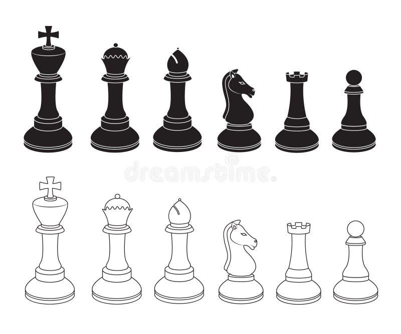 Reeks Schaakpictogrammen in Zwart-wit stock illustratie
