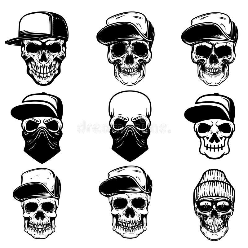 Reeks schedels in honkbal GLB en bandana Ontwerpelement voor embleem, etiket, teken, affiche, banner vector illustratie