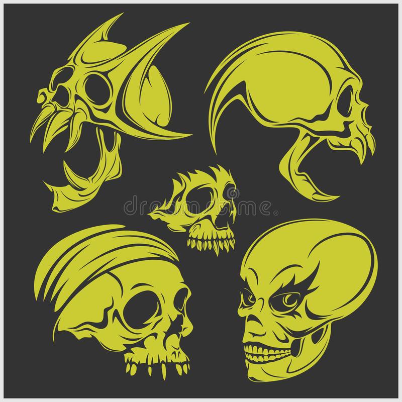 Reeks schedels Vector illustratie vector illustratie