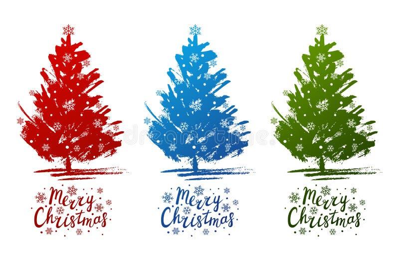 Reeks schetsen van Kerstbomen vector illustratie