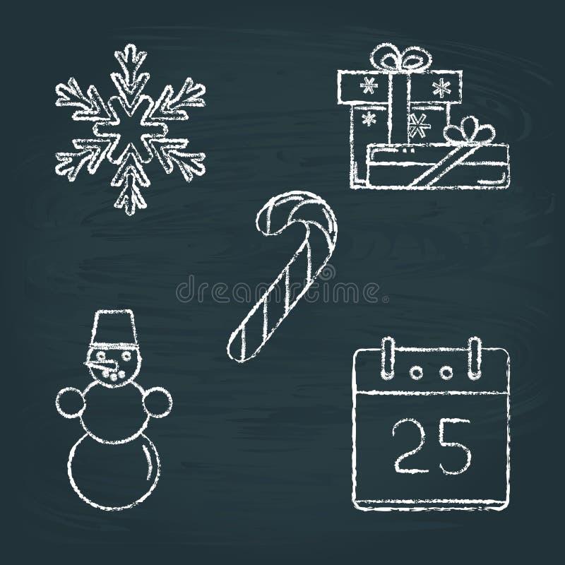 Reeks schetsen van Kerstmispictogrammen op bord stock illustratie