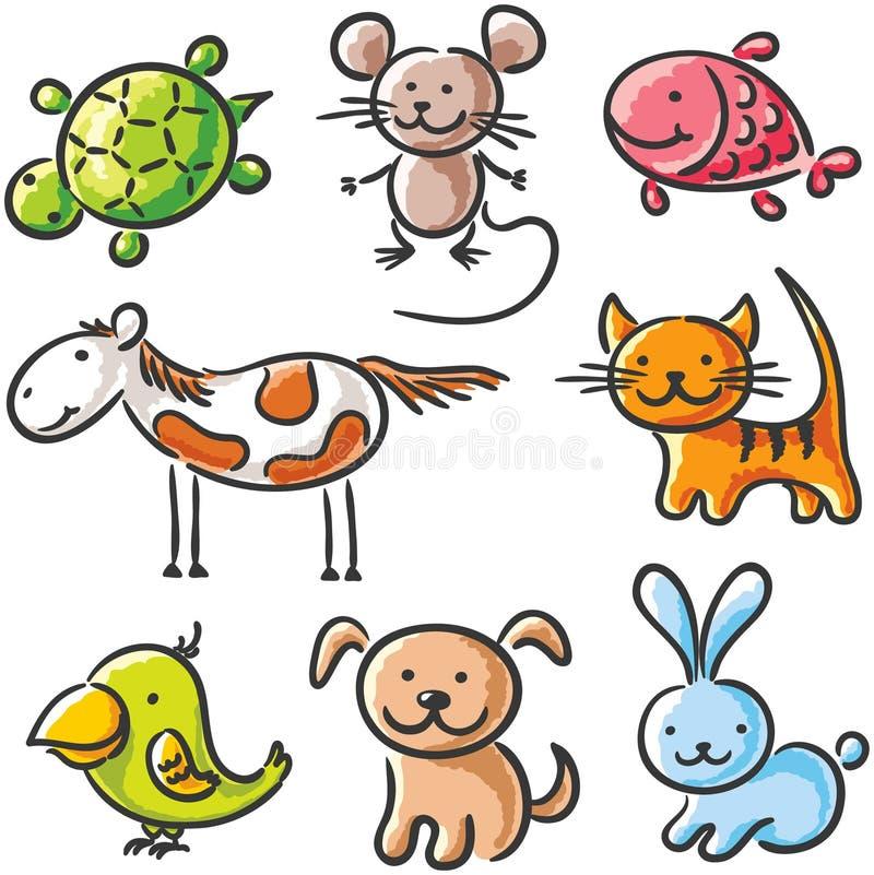 Reeks schetsmatige huisdieren vector illustratie